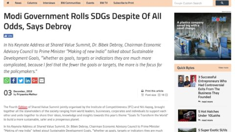 Modi Government Rolls SDGs Despite Of All Odds, Says Debroy
